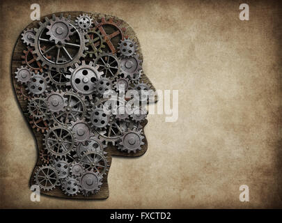 Head made from gears and cogs. Brain activity, idea concept. - Stock Photo