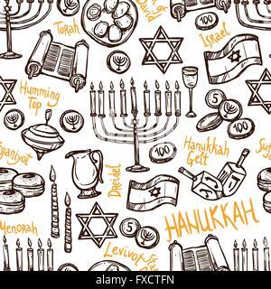 Hanukkah Seamless Pattern - Stock Photo