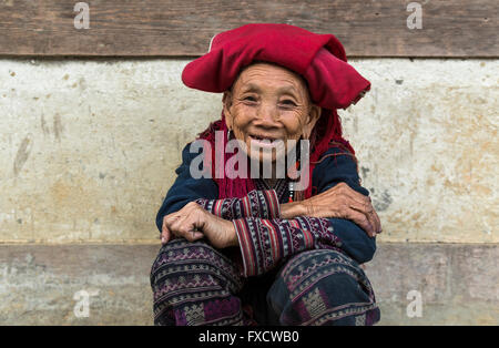 SaPa, Vietnam - March 2016 - Vietnamese old lady from the Black Hmong tribe. - Stock Photo