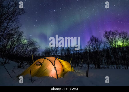 Tenting under the auroras - Stock Photo