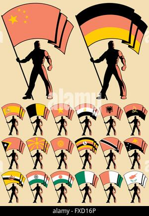 Flag bearer in 20 versions, differing by the flag. Flags of China, Germany, India, Spain, Egypt, Belgium, Ireland, - Stock Photo