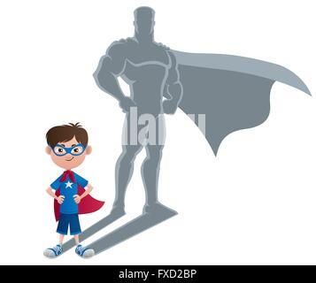 Conceptual illustration of little boy with superhero shadow. - Stock Photo