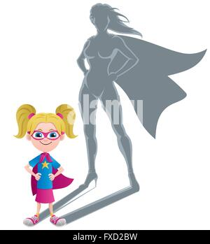 Conceptual illustration of little girl with superheroine shadow. - Stock Photo