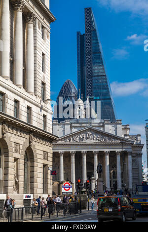 Bank Tube station and Bank Junction ,with The Royal Exchange,The Gherkin and The Leadenhall Building in the background - Stock Photo