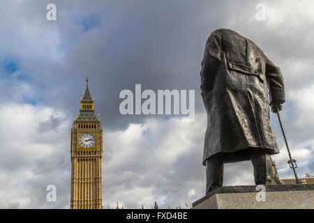 Statue Of Winston Churchill ,Parliament Square , Westminster , London - Stock Photo