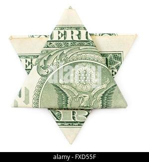 Dollar origami star of David isolated on white background - Stock Photo