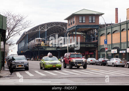 Coney Island- Stillwell Avenue train station, Brooklyn, New York, United States of America. - Stock Photo