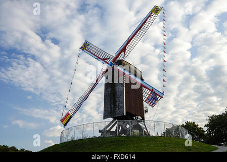 Sint-Janshuismolen windmill located in the historic town of Bruges (Brugge), UNESCO World Heritage Site - Stock Photo