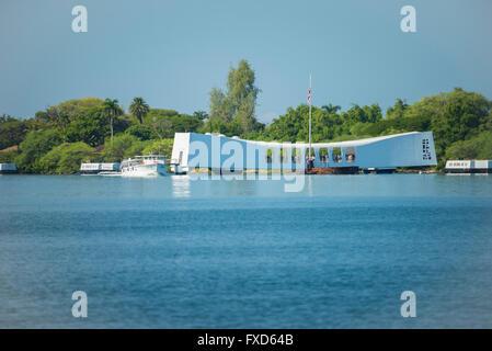 USA, Hawaii, Oahu, Honolulu, Pearl Harbor, USS Arizona Memorial - Stock Photo