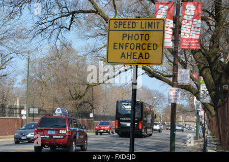 A sign for a speed camera on Irving Park Rd in the Chicago Lake View neighborhood. This camera issues among the - Stock Photo