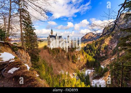 Neuschwanstein Castle in winter landscape, Fussen, Germany - Stock Photo