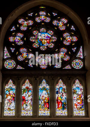 The Southern Rose Window in the Church of The Immaculate Conception, Clonakilty, West Cork, Ireland. - Stock Photo