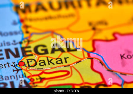 Dakar, Capital City of Senegal in Africa on the World Map - Stock Photo
