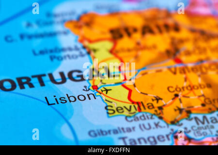 Portugal On The Iberian Peninsula On The World Map Stock Photo - Portugal map iberian peninsula
