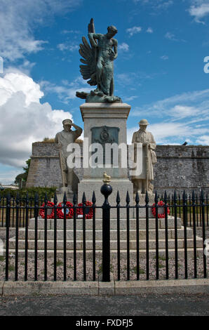 Memorial to the Plymouth Division Royal Marines on The Hoe - Stock Photo