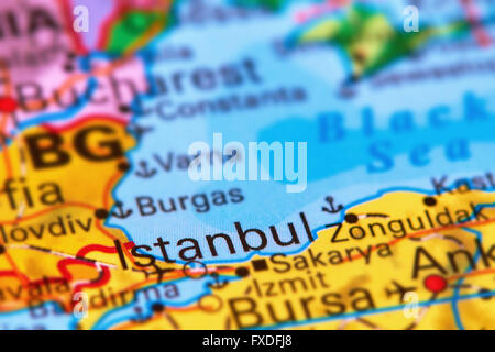 Istanbul, City in Turkey on the World Map Stock Photo