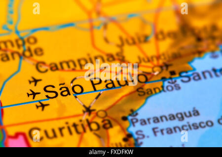 Map of sao paulo brazil stock photo 124635824 alamy sao paulo city in brazil on the world map stock photo gumiabroncs Images
