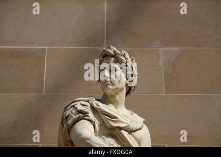 Julius Caesar (100BC-44BC). Roman statesman. Consul and dictador. Sculpture by French artist Nicolas Coustou (1658 - Stock Photo