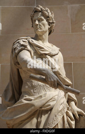 Julius Caesar (100BC-44BC). Roman statesman. Consul and dictador. Sculpture by French artist Nicolas Coustou (1658 - Stock Photo