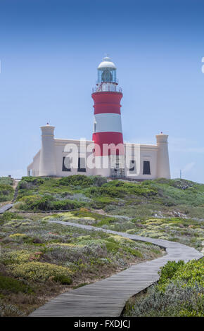 Cape Agulhas is on the geographic southern tip of Africa and the lighthouse a historic building - Stock Photo