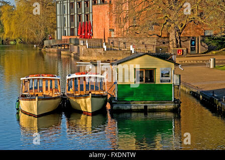 Tourist boats moored on the River Avon in the centre of Stratford upon Avon, Warwickshire - Stock Photo