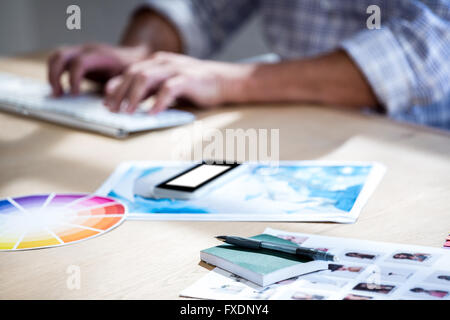 Diary, pen, and picture on desk - Stock Photo