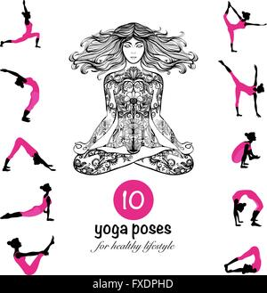 Yoga poses asanas pictograms composition poster - Stock Photo