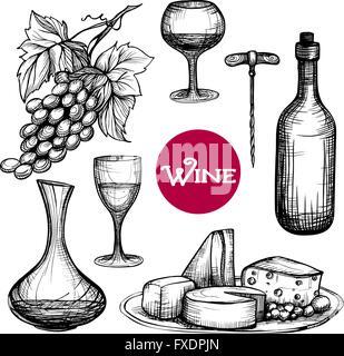 Hand Drawn Wine Set - Stock Photo