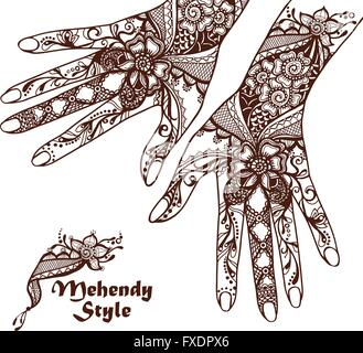 Decorative Hands With Henna Tattoos - Stock Photo