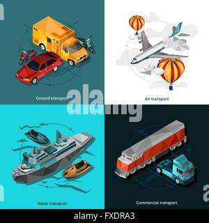 Transport Low Polygonal Icons Set - Stock Photo