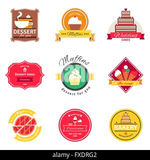 Confectionery And Bakery Flat Emblems Set - Stock Photo