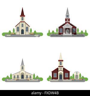 Church Decorative Flat Icon Set - Stock Photo
