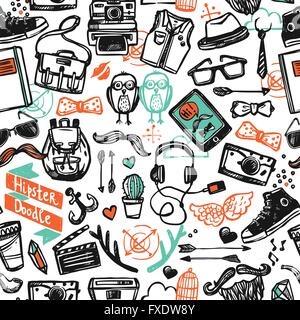 Hipster Sketch Seamless Pattern - Stock Photo