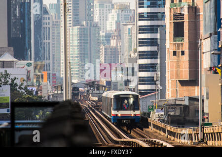 BTS Skytrain in Bangkok, Thailand - Stock Photo