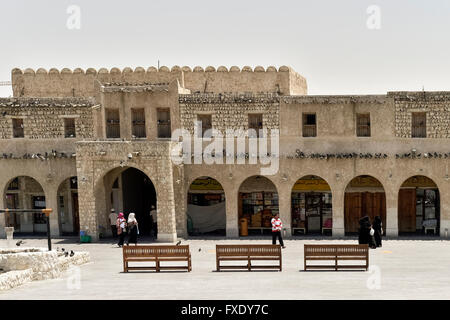 Entrance to the Wakif Souk or Souq Waqif, bazar, Doha, Qatar - Stock Photo