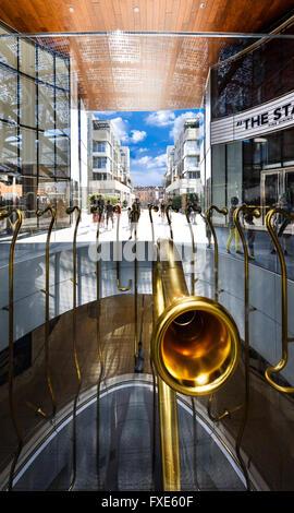 MILAN , LOMBARDIE,  ITALY - AUGUST 30 2015 : Porta Nuova, the Golden Trumpets Installation by Garutti - Stock Photo