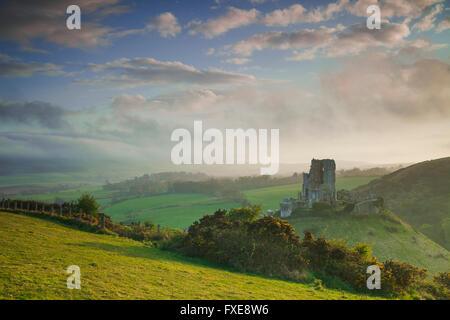 Corfe Castle, Dorset, England. - Stock Photo