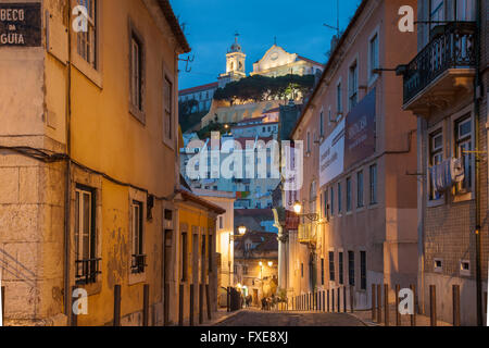 Night falls in Alfama, Lisbon, Portugal. - Stock Photo