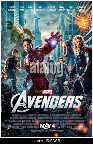 'Avengers Assemble' (2012) directed by Joss Whedon and starring Robert Downey, Chris Evans and Scarlett Johansson. - Stock Photo