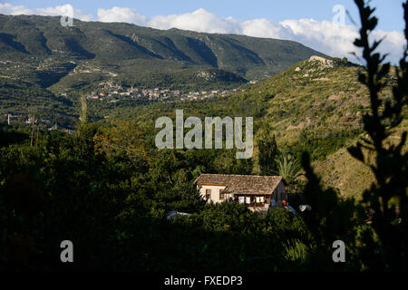 TURKEY Antakya, Musa Dagh, former armenian village Yoghonoluk, view to mountain Musa Dagh, about 4000 armenian villagers - Stock Photo