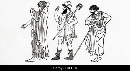 Dress of Athenian men and women in ancient Greece. - Stock Photo