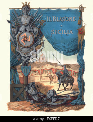 Frontispiece for Il Blasone in Sicilia showing a mounted knight with lance in medieval tourney. A herald introduces - Stock Photo