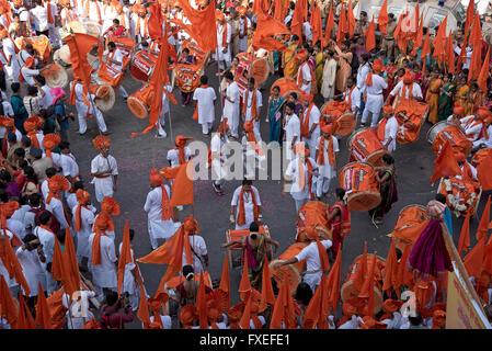 The image of procession was shot in Girgaon Mumbai, Maharashtra, India - Stock Photo