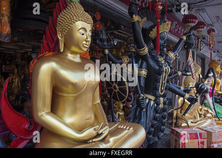 Buddha statue shop at Bamrung Muang Road, Bangkok Buddha Street in Stock Phot...