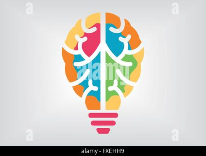 Colorful infographic for creativity and intelligence concept. Icon of brain and light bulb. - Stock Photo