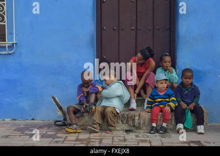 A Cuban mother with her children. Camaguey, Cuba, - Stock Photo