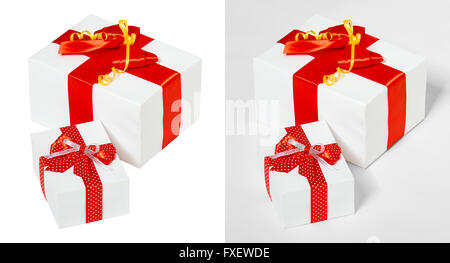 gift box decorated silk red ribbon and bow, object on white studio background - Stock Photo
