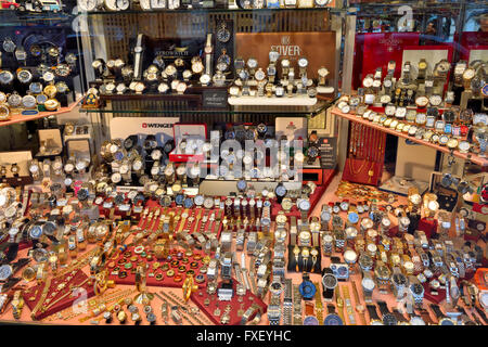 Display of watches in Swiss shop window - Stock Photo