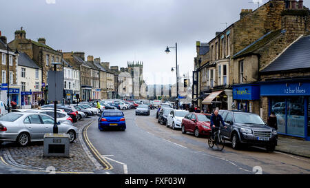 Street scene in Barnard Castle, Teesdale, County Durham, England - Stock Photo