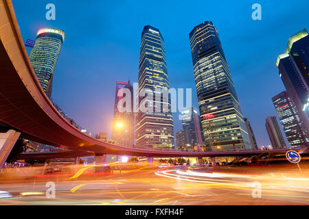 Night view of Lujiazui business district in Shanghai, China. - Stock Photo